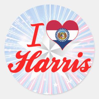 I Love Harris, Missouri Round Stickers