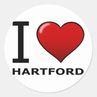 I LOVE HARTFORD,CT - CONNECTICUT ROUND STICKER