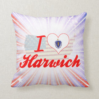 I Love Harwich Massachusetts Throw Pillows