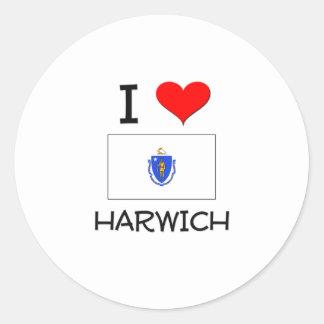 I Love Harwich Massachusetts Round Sticker