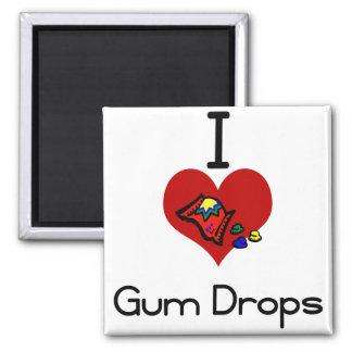 I love-hate gum drops square magnet