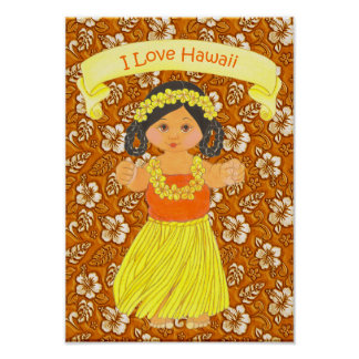 I Love Hawaii Poster / Print ~ Hula Girl
