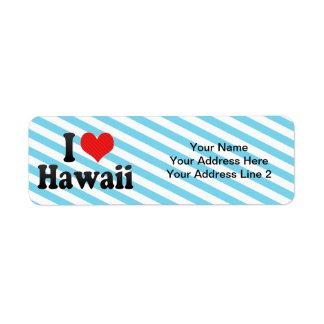 I Love  Hawaii Return Address Label