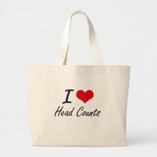 I love Head Counts Jumbo Tote Bag