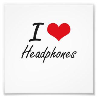 I love Headphones Photo Print