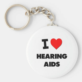 I Love Hearing Aids Basic Round Button Key Ring