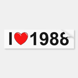I Love (Heart) 1988 Bumper Sticker