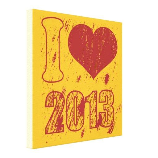 I love (heart) 2013 - Happy new year 2013 -  Xmas Canvas Prints