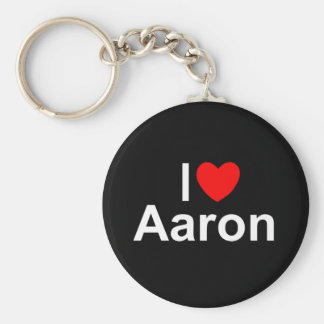 I Love (Heart) Aaron Basic Round Button Key Ring
