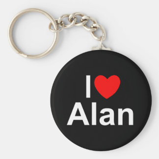 I Love (Heart) Alan Basic Round Button Key Ring