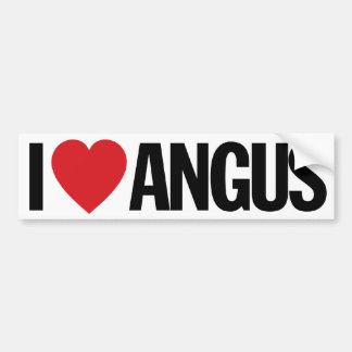 "I Love Heart Angus 11"" 28cm Vinyl Decal Bumper Sticker"