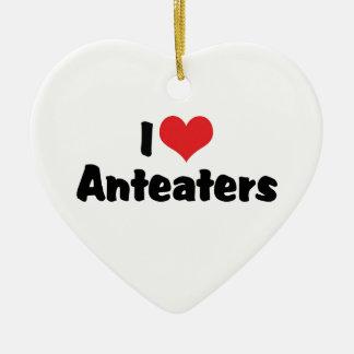 I Love Heart Anteaters Ceramic Heart Decoration