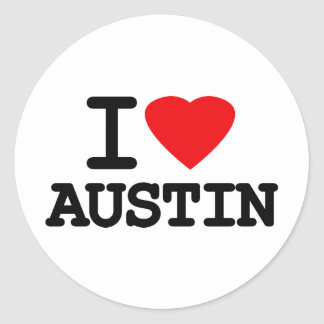 I Love Heart Austin Texas Classic Round Sticker