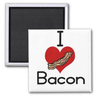 I love-heart Bacon Square Magnet