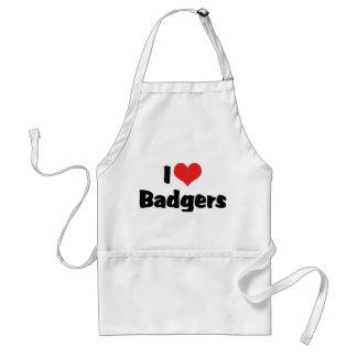 I Love Heart Badgers Standard Apron