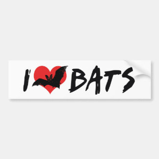 I Love Heart Bats Bumper Sticker