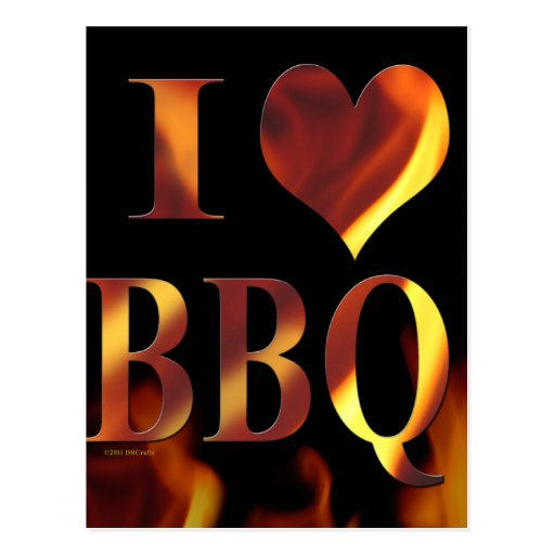 I Love (Heart) BBQ Post Cards