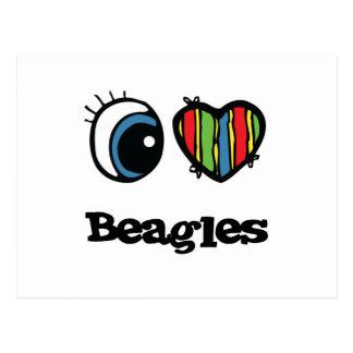 I Love (Heart) Beagles Post Cards