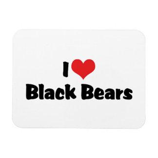 I Love Heart Black Bears Rectangular Photo Magnet