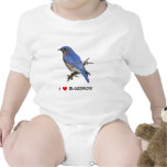 I Love (heart) Bluebirds Baby Bodysuit