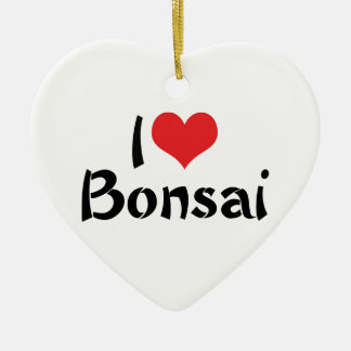 I Love Heart Bonsai - Japanese Tree Art Lover Ceramic Heart Decoration