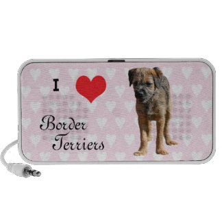 I love heart Border Terriers doodle speakers gift