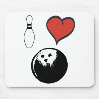 I Love (heart) Bowling Mouse Pad