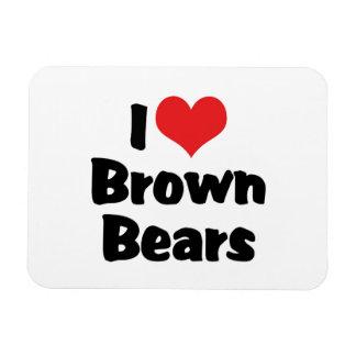 I Love Heart Brown Bears Rectangular Photo Magnet