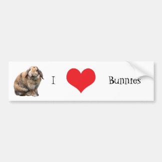 I love heart bunnies bumper sticker, gift idea car bumper sticker