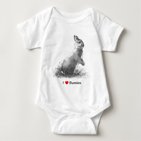 I Love (Heart) Bunnies: Rabbit in Pencil Baby