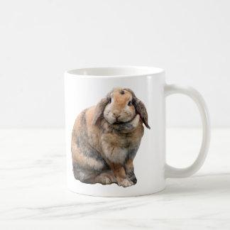 I love heart bunnies, rabbit lop-eared mug, gift basic white mug