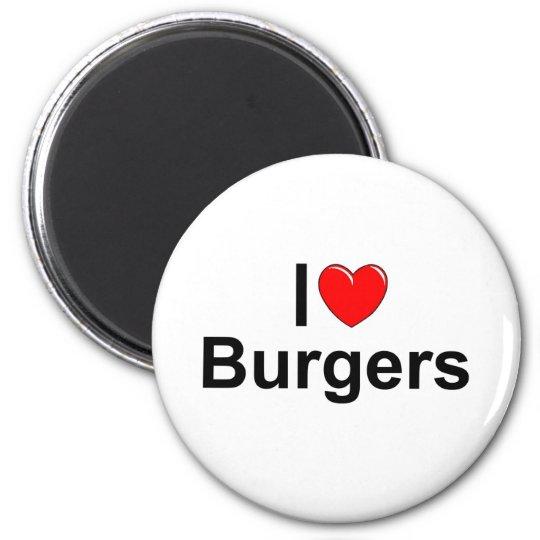 I Love (Heart) Burgers 6 Cm Round Magnet
