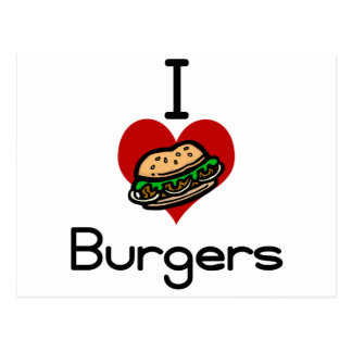 I love-heart burgers postcard
