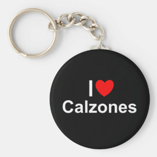 I Love (Heart) Calzones Basic Round Button Key Ring