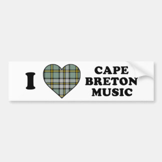 I Love Heart Cape Breton Music Tartan Bumper Sticker