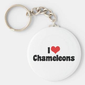 I Love Heart Chameleons - Lizard Lover Basic Round Button Key Ring