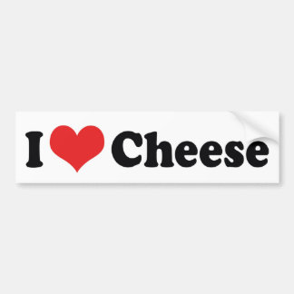 I Love Heart Cheese - Dairy Lover Bumper Sticker