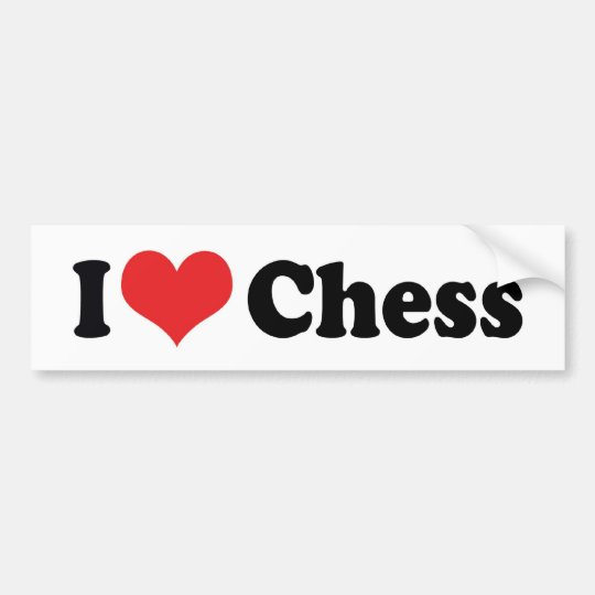 I Love Heart Chess Bumper Sticker