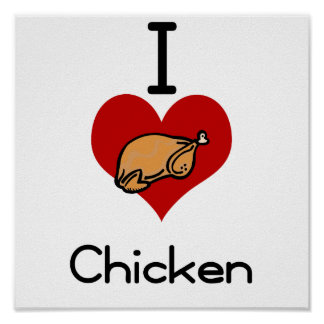 I love-heart chicken poster