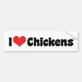 I Love Heart Chickens - Chicken Lover Bumper Sticker