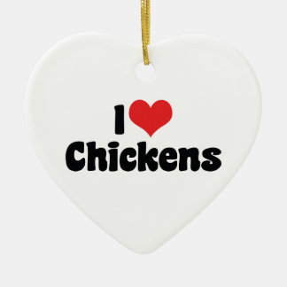 I Love Heart Chickens - Chicken Lover Christmas Ornament