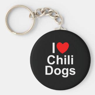 I Love (Heart) Chili Dogs Keychain