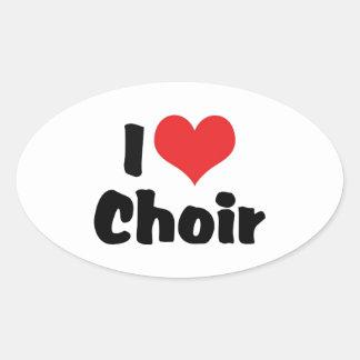 I Love Heart Choir Oval Sticker