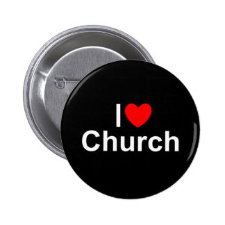 I Love (Heart) Church 6 Cm Round Badge