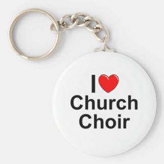 I Love (Heart) Church Choir Basic Round Button Key Ring