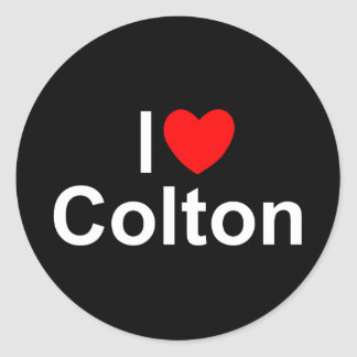 I Love Heart Colton Round Stickers