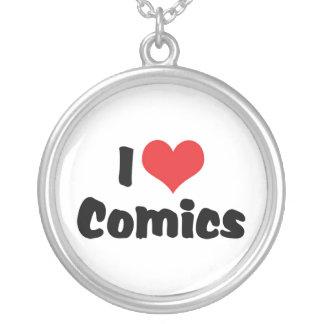 I Love Heart Comics - Comic Book Lover Round Pendant Necklace