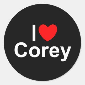 I Love (Heart) Corey Round Sticker
