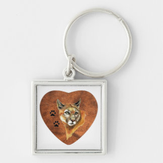 I Love, Heart, Cougar  Animal, Nature, Wildlife Silver-Colored Square Key Ring