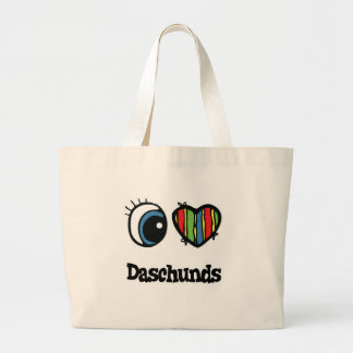 I Love (Heart) Daschunds Large Tote Bag